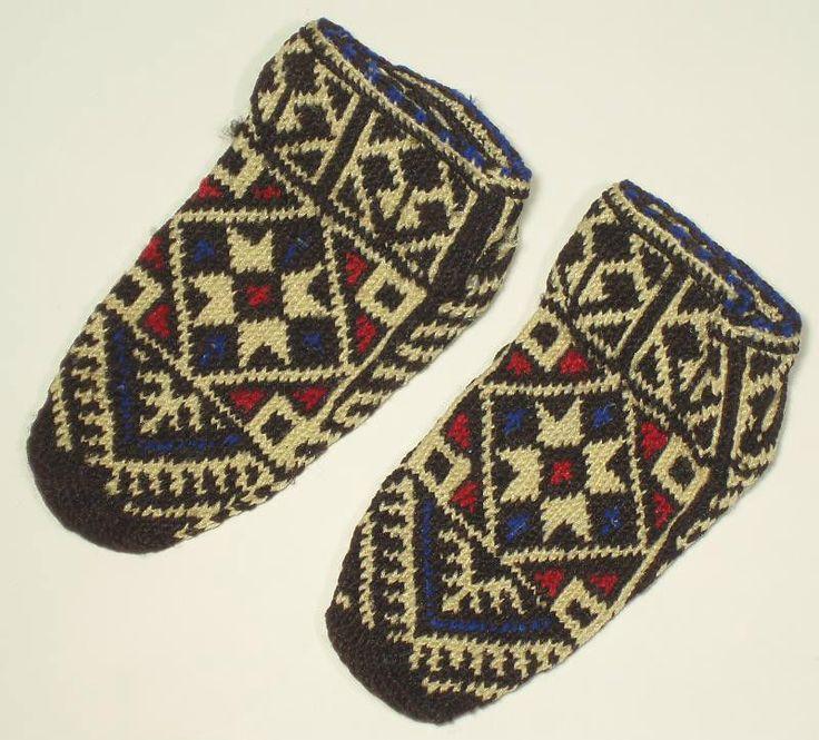 VINTAGE Sarakatsani Hand-Knit Folk Costume Socks ethnic pattern Bulgarian/Greek