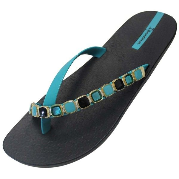 Black & Blue Imperial Style Ipanema Brazilian Flip Flops (£15) ❤ liked on Polyvore featuring shoes, sandals, flip flops, blue, flip flops women, footwear, black strap sandals, blue sandals, black jeweled sandals and ipanema flip flops