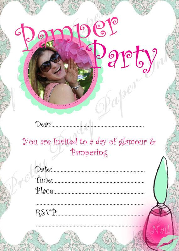 Pamper Party Invitation- Pamper kisses -INSTANT DOWNLOAD digital file ready for printing www.etsy.com/shop/prettypartypaperink www.facebook.com/pretty.party.paper.ink