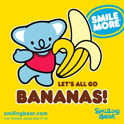 Let's All Go Bananas!    http://smilingbear.com/blog/lets-all-go-bananas      #smilingbear #smilemore #koala #koalabear #bear #koalified #koalification #smile #smiling #happy #cute #kawaii #australia #sydney #beach #art #fashion #design #illustration #characterdesign #fun #iphonesia #japan #kawaiigurls #kawaiioftheday #gobananas #silly #goofy