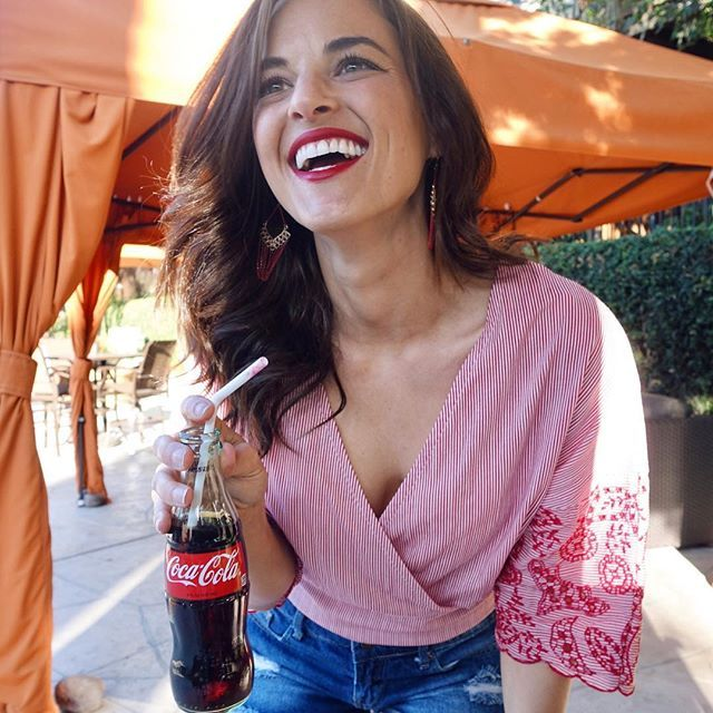Zara red and white striped top and coca cola