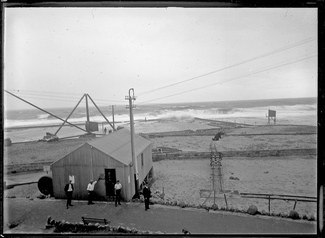 [Newcastle Ocean Baths under construction, Newcastle, NSW, 12 February 1912] by Cultural Collections, University of Newcastle, via Flickr