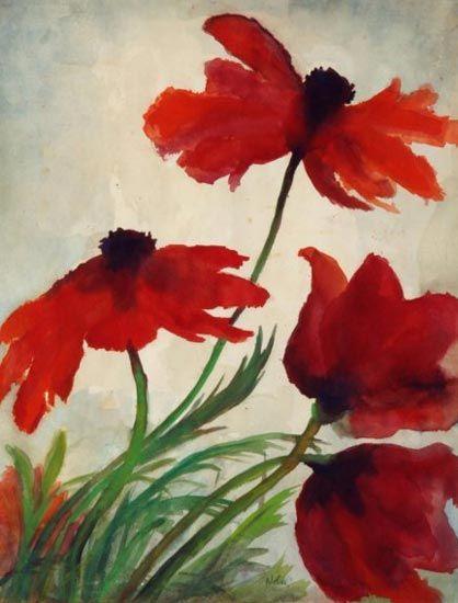 Emil Nolde, Fiori di papavero, ca. 1925, Acquerello, 54 x 42 cm
