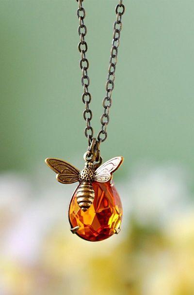 Honey Drop and Honey Bee Necklace