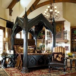 gothic victorian bedroom design ideas with black wooden gothic canopy bed and large persian rug with damask pattern gothic style furniture design - Halloween Room