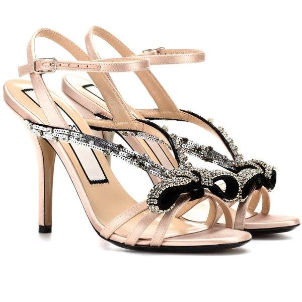 c39cd0cce92fad N°21 Sequinned Satin Sandals (68055 RSD) ❤ liked on Polyvore featuring shoes
