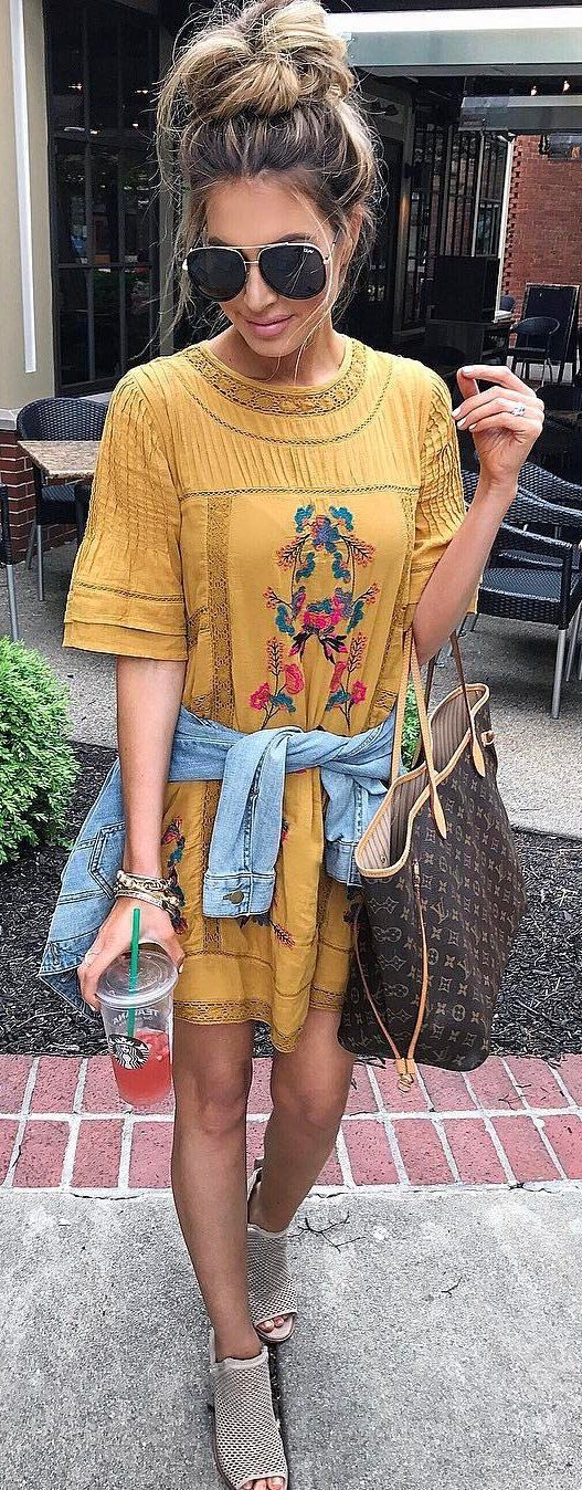 #summer #outfits Yellow Floral Tee Dress + Grey Open Toe Booties ✌