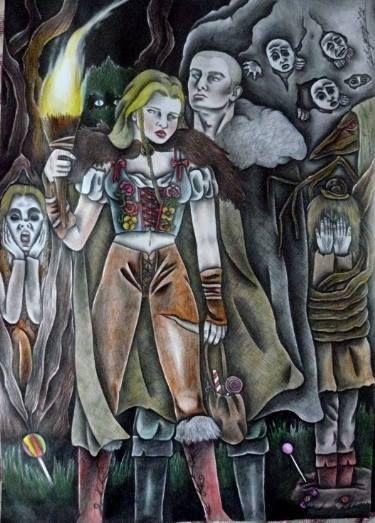 """Saatchi Art Artist Celeste Gómez; Drawing, """"HANSEL Y GRETEL. """"EL SENDERO DE LOS NIÑOS PERDIDOS."""" #art"""
