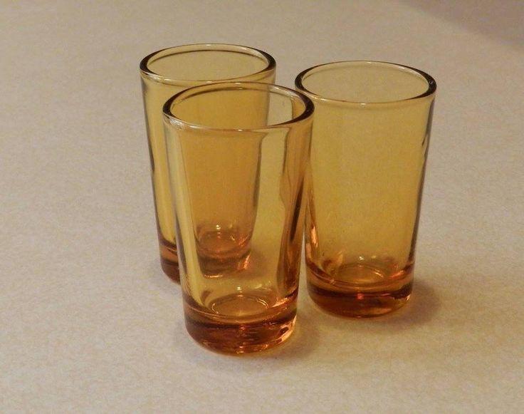 3 x Vintage Amber Shot Glasses