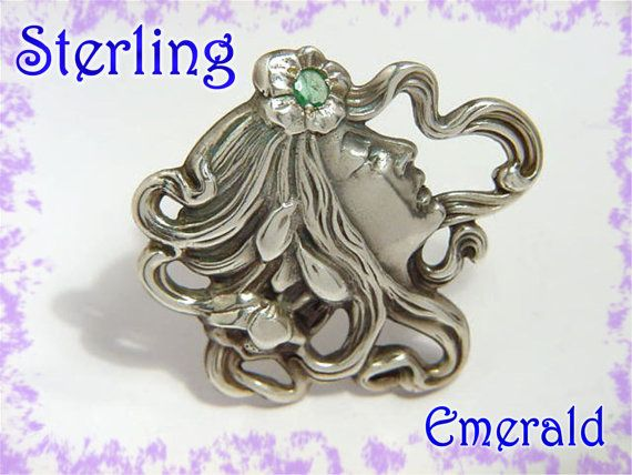 Art Nouveau Maiden Lady With Flowing Hair Emerald Sterling Silver Brooch ~ Face Profile Modernist