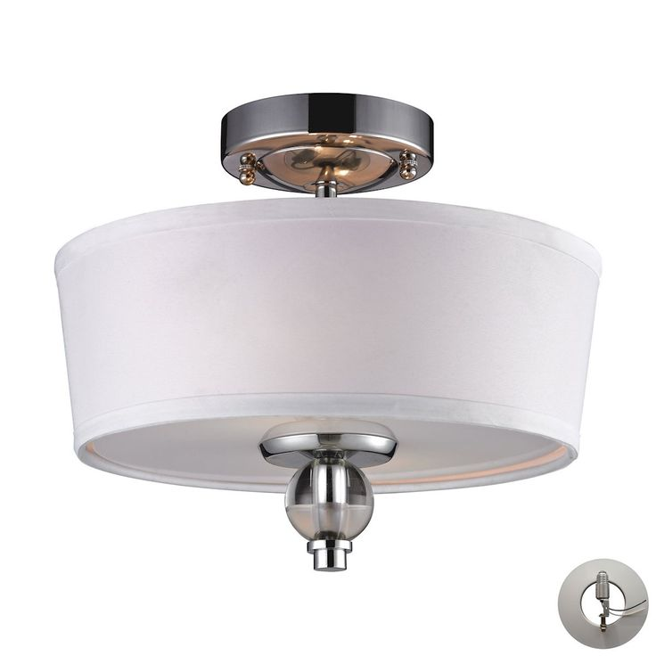 Martina 2 Light Semi Flush In Polished Chrome - Includes Recessed Lighting Kit by ELK
