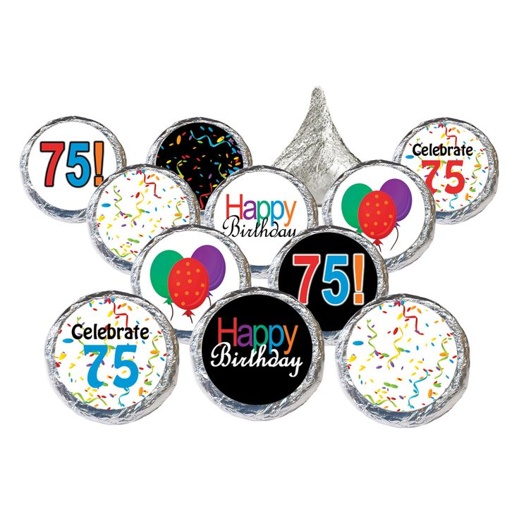 Happy 75th Birthday Party Sticker Decorations for Hershey Kisses (Set of 324)