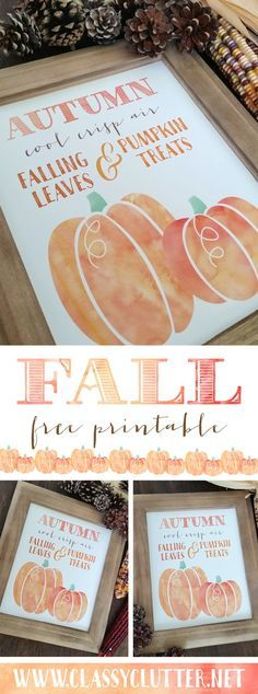 Fall Pumpkin Printable - Click to download yours for free! - http://www.classyclutter.net