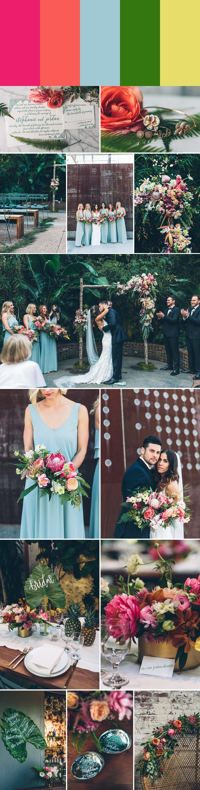 2018 Wedding Color Palette Inspiration: protea pink + tangerine + sky blue + shamrock + canary yellow | Image by Vitae Weddings