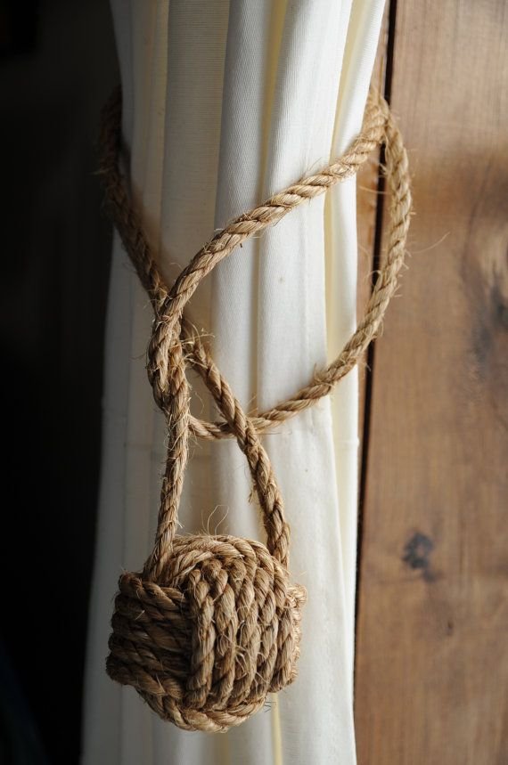 Nautical Home Decor - Nautical Curtain Tiebacks - Manila Rope Tiebacks - (this is for 2)