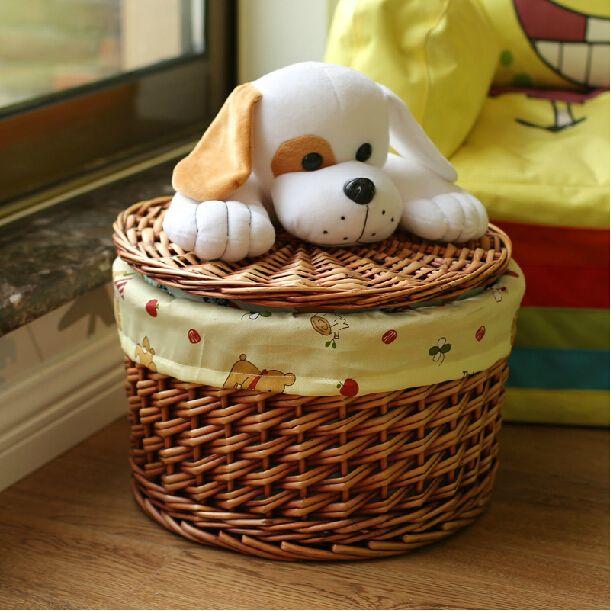ラウンド籐バスケット用キッズ-おもちゃ-または服-かわいい犬蓋ランドリー-バスケット-手作り籐収納バスケット友人へ-の贈り物として.jpg (611×611)