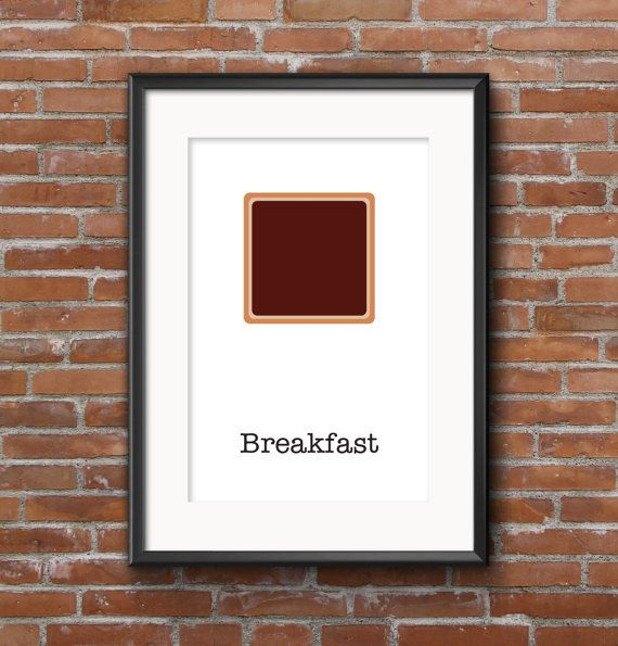 Poster kitchen / Bread with chocolate / Wall poster by SketchChe