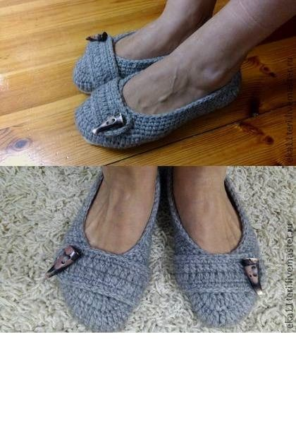 Knitted slippers, double insole. 90% wool, 10% acrylic. Neat and stylish ballet flats for the home. Can be made of cotton yarn as an option for the summer. In addition, optional hem dense felt or leather insole.