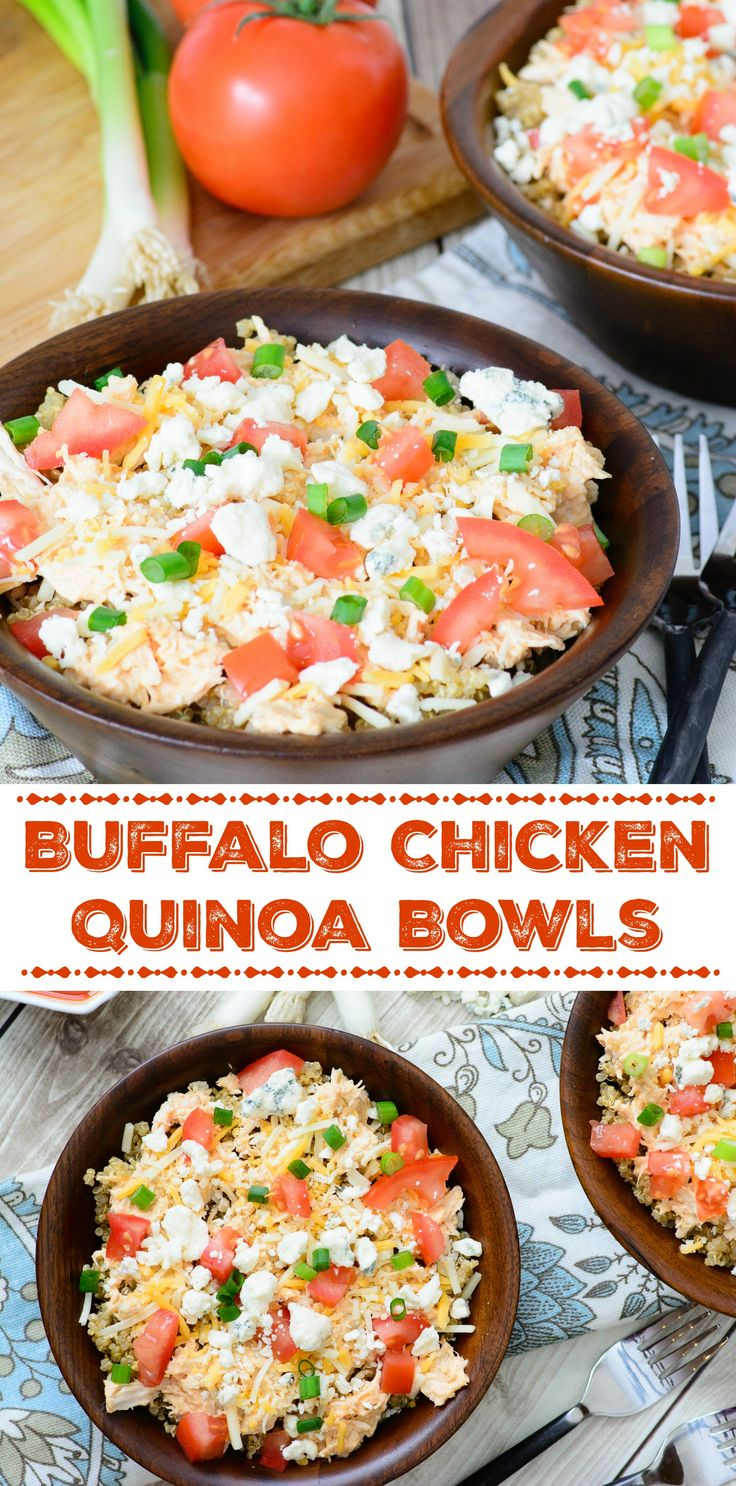 Buffalo Chicken Quinoa Bowls -- easy to make, naturally gluten-free and full of robust buffalo chicken flavor. This is one buffalo chicken recipe that you have to try!