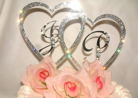 Silver Or Gold Double Heart Initials Wedding Cake Topper Monogram