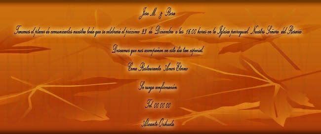 MUNDO ROSSA -TARGETAS DE BODA: tarjetas de boda -tonos naranjas
