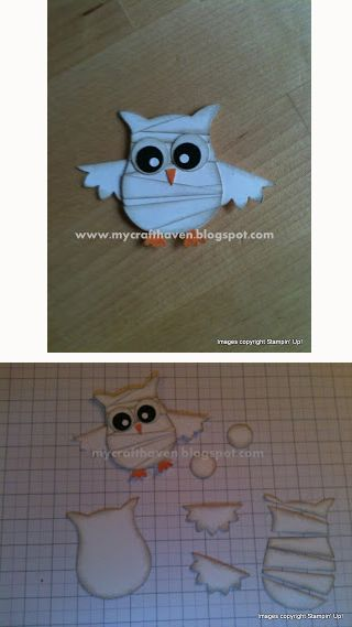 """Mummy - by Hayley. Uses the Stampin' Up """"Owl Builder"""" punch. Detailed instructions on her website."""