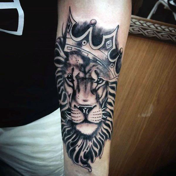 Inner forearm black ink male lion with crown tattoos for Crown royal tattoo