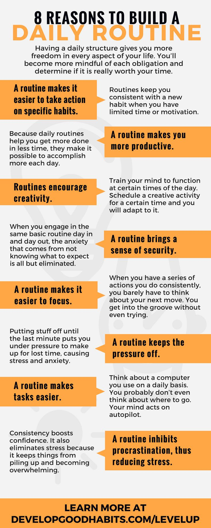 Creating your best daily routine. Reasons why (and how) to create an unstoppable daily routine. This infographic is an excerpt from the book Level Up Your day, which is about creating the perfect daily routine for success in all aspects of your life.  | Self Improvement | Self Help