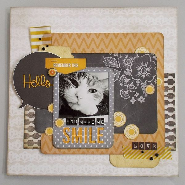 #papercraft #scrapbook #layout. You Make Me Smile by PennyPaws @2peasinabucket Colors. 4x6 card