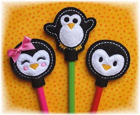 GG Designs Embroidery - Penguin Pencil Toppers FELT STITCHIES (in ...