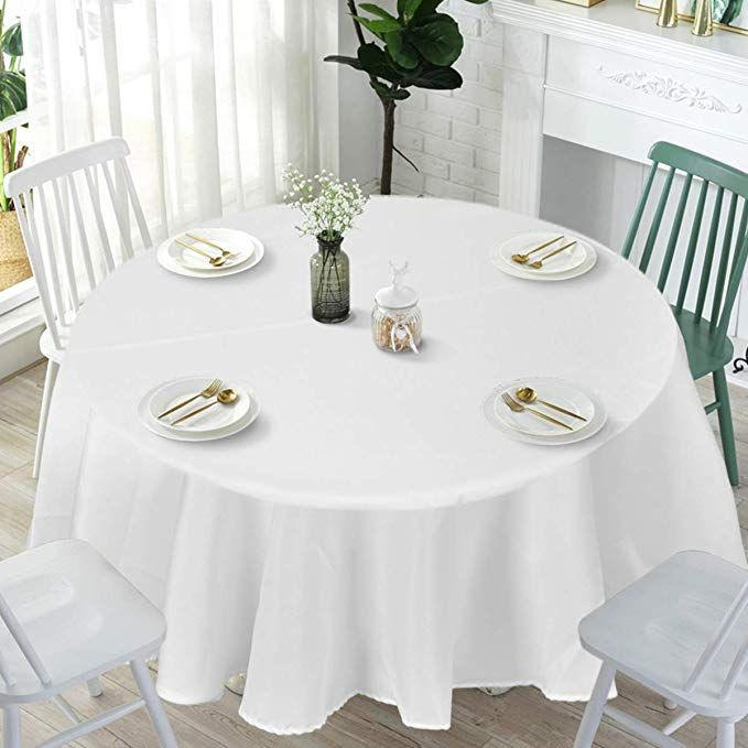 Giantex 10 Pcs Round White Tablecloth 120 Inch Premium Polyester Table Cover Machine Washable Durable Table Cloths For Wedding Reception Restaurant Banquet P Durable Table White Table Cloth Table Covers