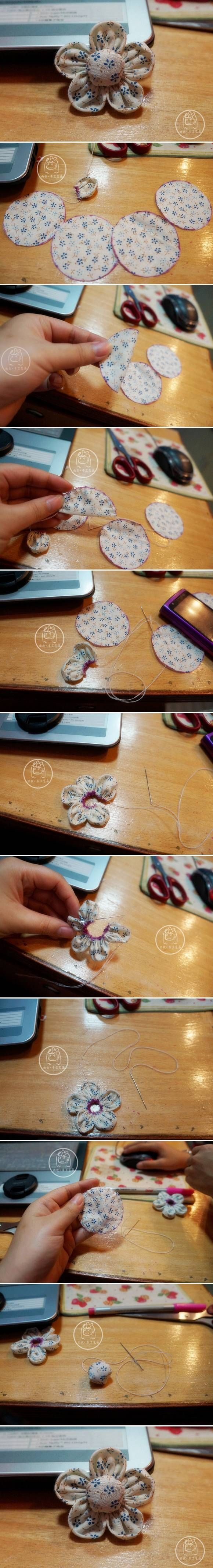 DIY Quick Handmade Fabric Flower DIY Quick Handmade Fabric Flower by diyforever