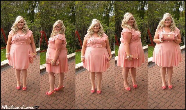 Laura from @whatlauraloves looks adorable in her pink dress & coral accessories! So feminine!