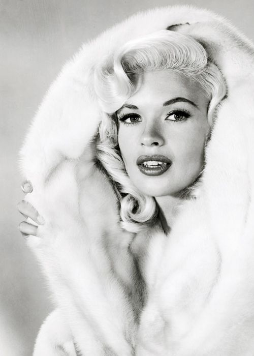 classicblondes:        Jayne Mansfield in WHITE MINK Fur c. 1957