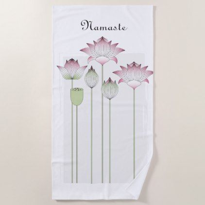 Pink Lotus Flower Namaste Elegant Modern Custom Beach Towel - floral style flower flowers stylish diy personalize