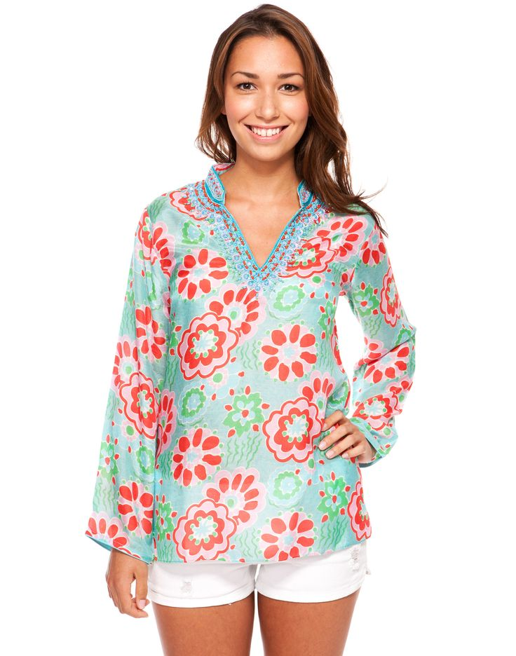 Whimsy Print Tunic - Turquoise