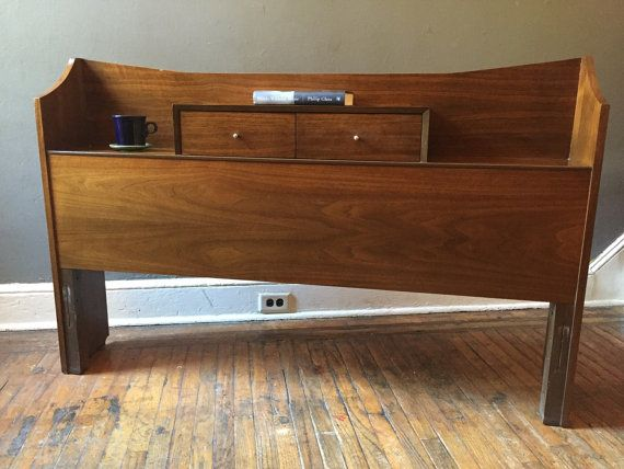 Mid century modern bed set headboard footboard and rails midcentury bed set