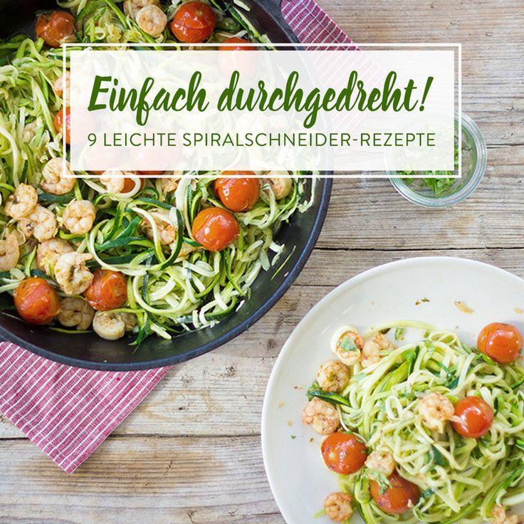 Mit einem Spiralschneider bringst du Gemüse in Nudelform. Rote Bete mit hauchdünnen Gurkenstreifen, Avocado und Ziegenkäse kombiniert - schwups fertig!