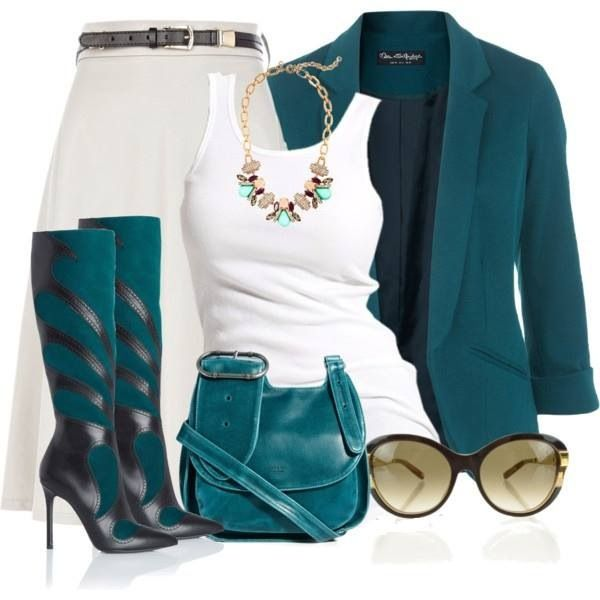 Dress casual turquoise ...