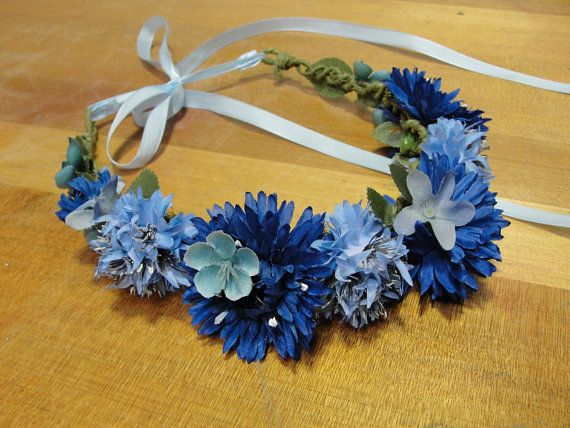 dark blue silk flower crown