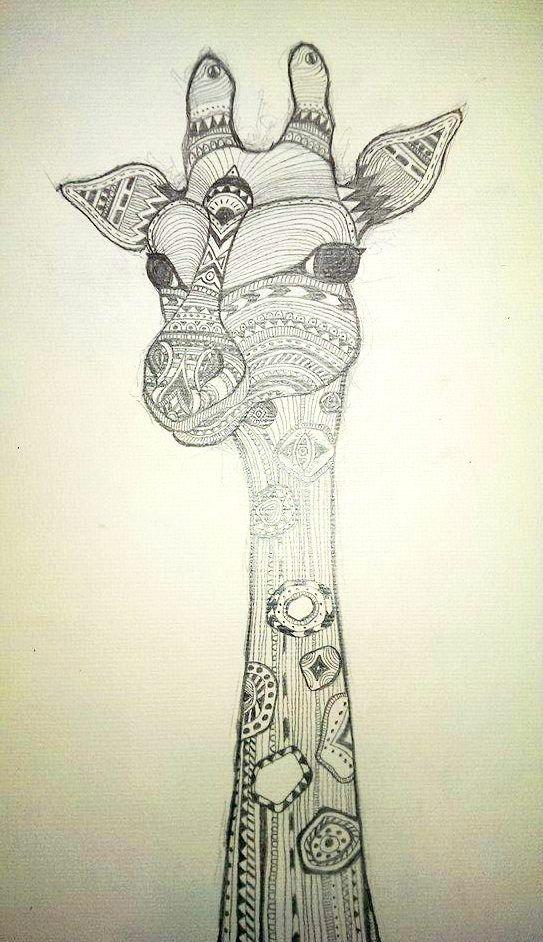langhälsig :) Mit bleistift gezeichnete muster, ethno, boho giraffe.