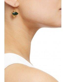Miniature Marquis Triple Bead Green Agate Earrings