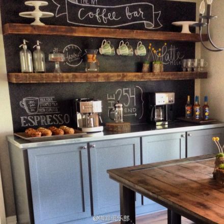 Love the chalkboard backdrop against the wooden shelves. This combined with the stainless steel countertop and dusty blue cupboards gives the whole thing texture and interest.