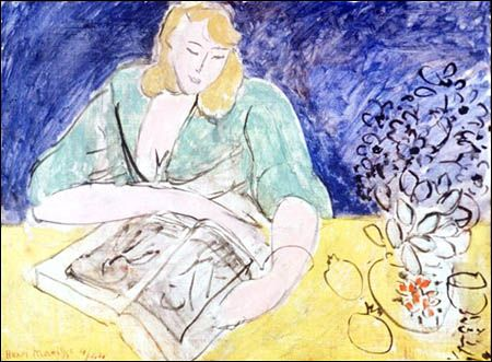 """""""Liseuse a la table jaune (Reading Woman at Yellow Table)"""" / Henri Matisse (1869-1954) / Musée Matisse, Nice, France"""