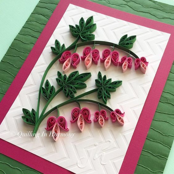 Quilled Bleeding Heart Flowers