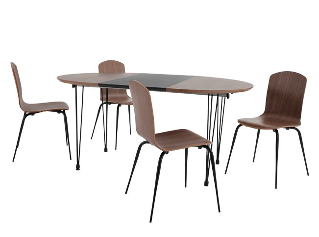 Ryland Extending Dining Table and 4 chairs Set, Walnut and Black
