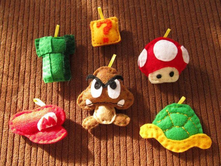 Nintendo Mario felt Christmas ornaments
