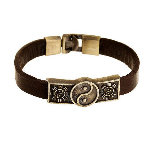 Brown Genuine Leather Bracelet With Yin & Yang