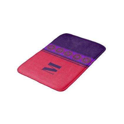 Monogram Violet Purple & Cherry Red Mandala Bathroom Mat - initial gift idea style unique special diy