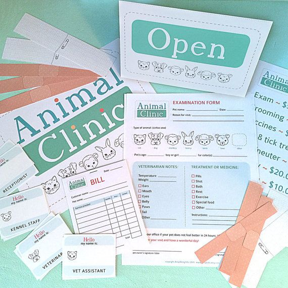Pretender jugar ANIMAL clínica imprimibles - Instant PDF Descargar-examen formas, vendajes, signos, etiquetas de nombre, veterinario